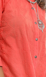 38907 Knot To Mention Blush Hot Orange Knotted Shirt
