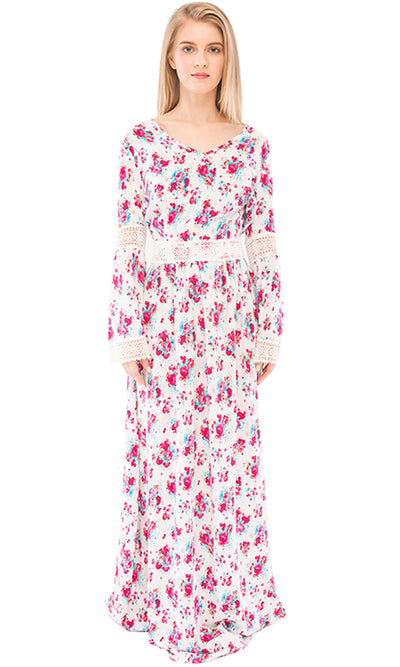 38909 Floral Maxi Dress - White & Fuchsia