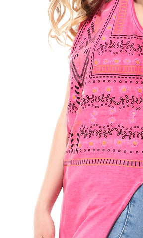 38914 Printed Sleeveless Fuchsia Top With Slits