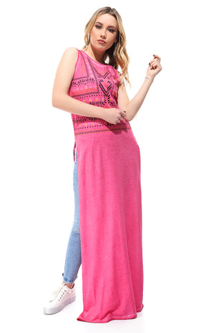 Printed Sleeveless Fuchsia Top With Slits
