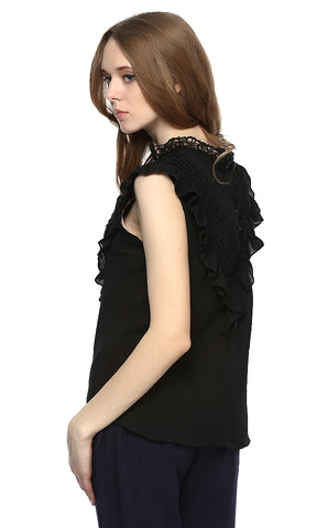 38915 Decorated Sleeveless Elegant Top - Black