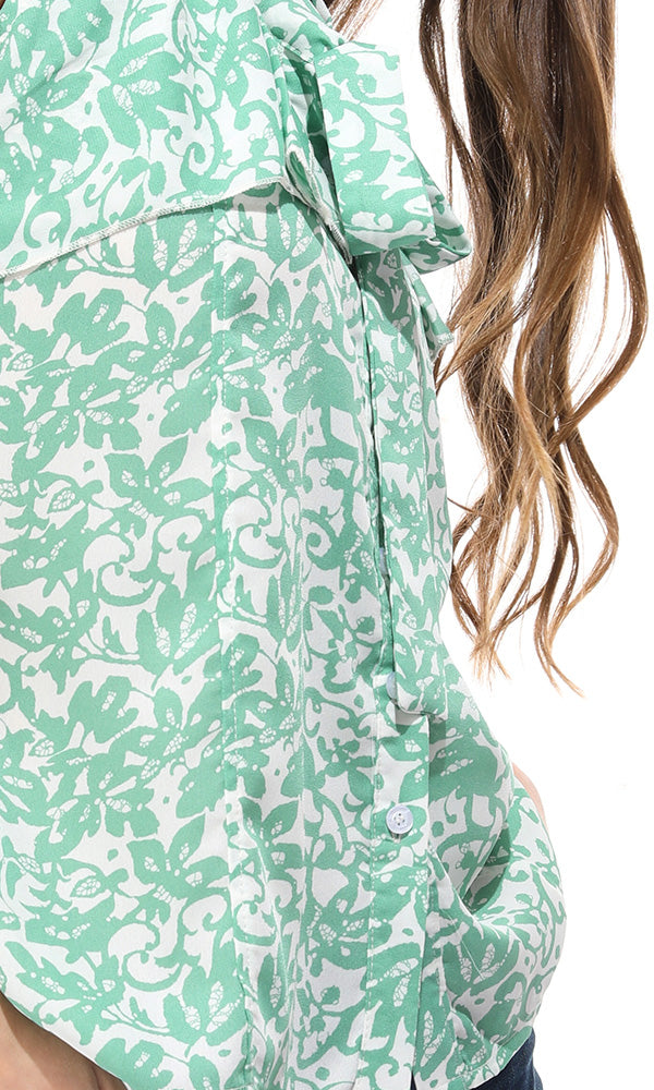 38930 Floral Sleeveless Buttoned Mint Green Shirt