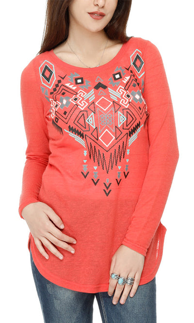 38945 Printed Long Sleeves Top - Watermelon