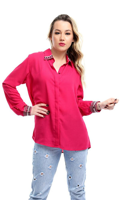 38946 Decorative Long Sleeves Fuchsia Chiffon Shirt - Ravin