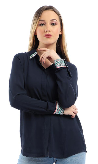 38947 Elegant Stitched Long Sleeves Buttoned Navy Blue Shirt - Ravin