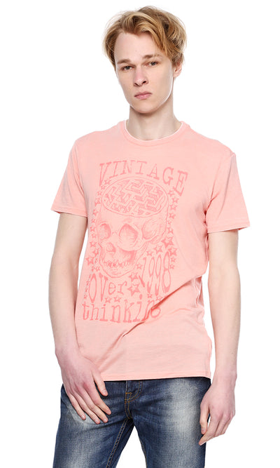 38995 Graphic Print Burn Out T-Shirt - Pink