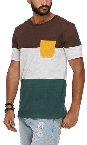 38999 Wide Striped T-Shirt - Brown, Green & Grey