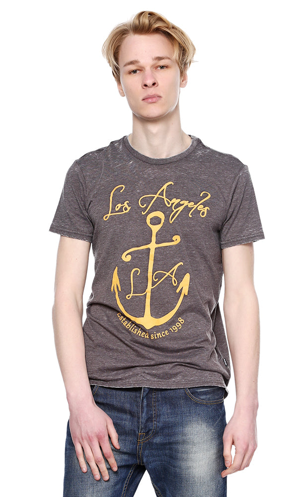 Anchor Print Burn Out T-Shirt-Round Neck-Short Sleeves