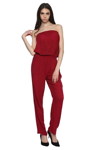 39094 Embroidered Jumpsuit - Dark Red