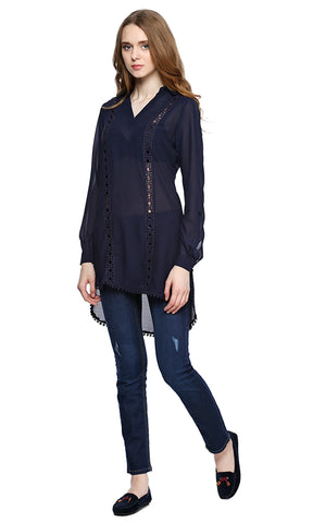 39136 Long Lace Trims Top - Navy Blue