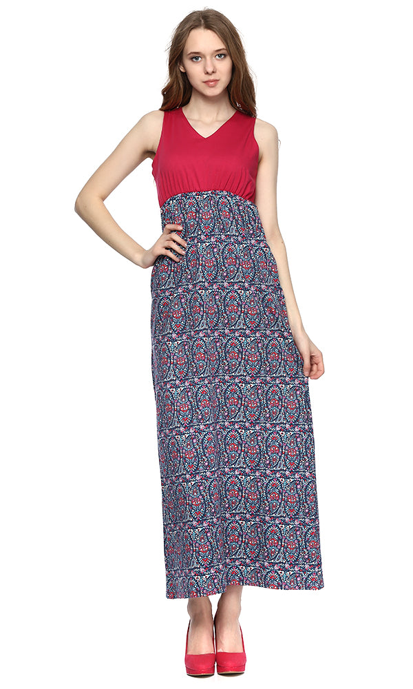 floral maxi dress-contrast panel-sleeveless