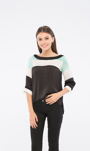 39247 3/4 Sleeves Blouse - Black, White & Mint Green