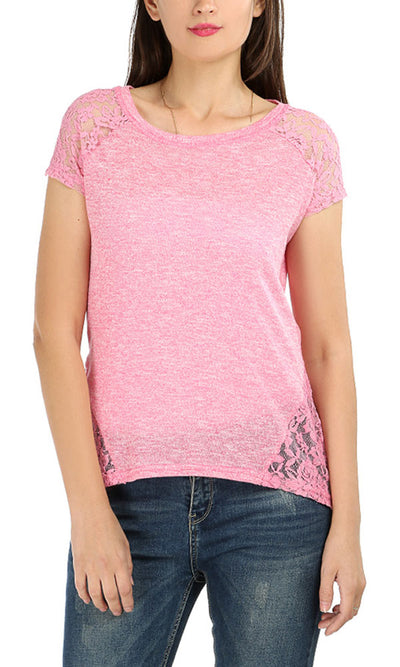 39259 Back Lace Top - Heather Pink