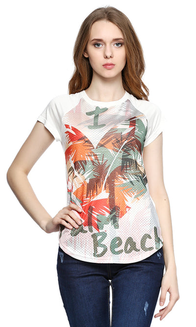 39278 Palm Beach-Printed T-Shirt - Grey