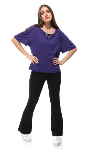 39306 Lace Up Neck Slip On T-shirt - Purple