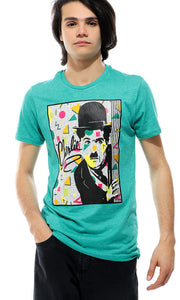 39328 Printed Charlie Heather Pale Aquamarine T-shirt