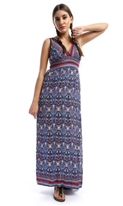 Wreath Summer Print Long Beach Dress