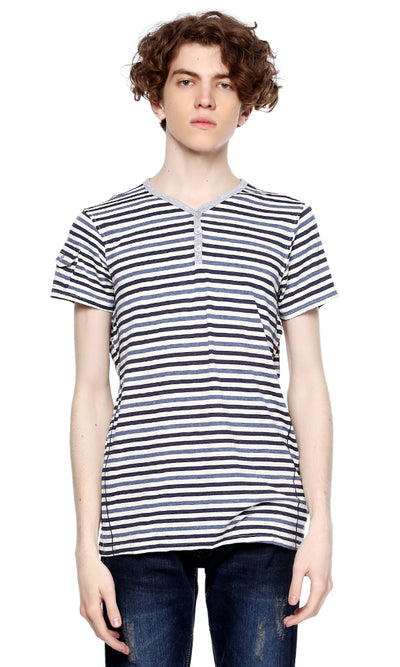 39365 Stripe Henley T-Shirt - Black