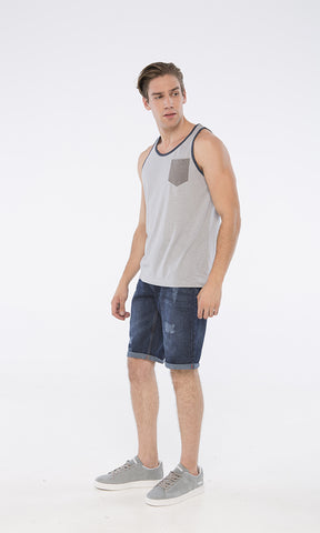 39382 Cotton Tank Tops - Grey