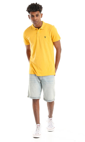 39405 Basic Mustard Buttoned Neck Polo Shirt