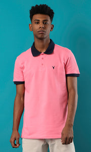 39406 Basic Pink Buttoned Summer Polo Shirt