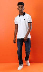 39408 Basic White Buttoned Neck Summer Polo Shirt