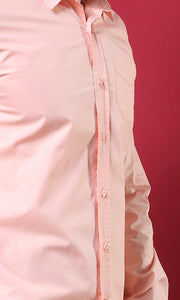39414 Elegant Long Sleeves Buttoned Shirt With Front Pocket - Light Salmon