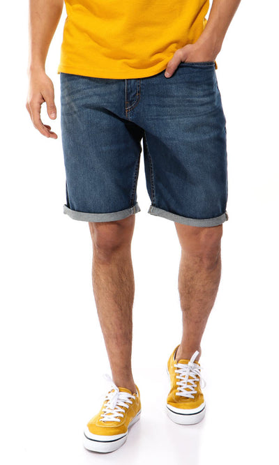 39417 Light Wash Solid Blue Jeans Short
