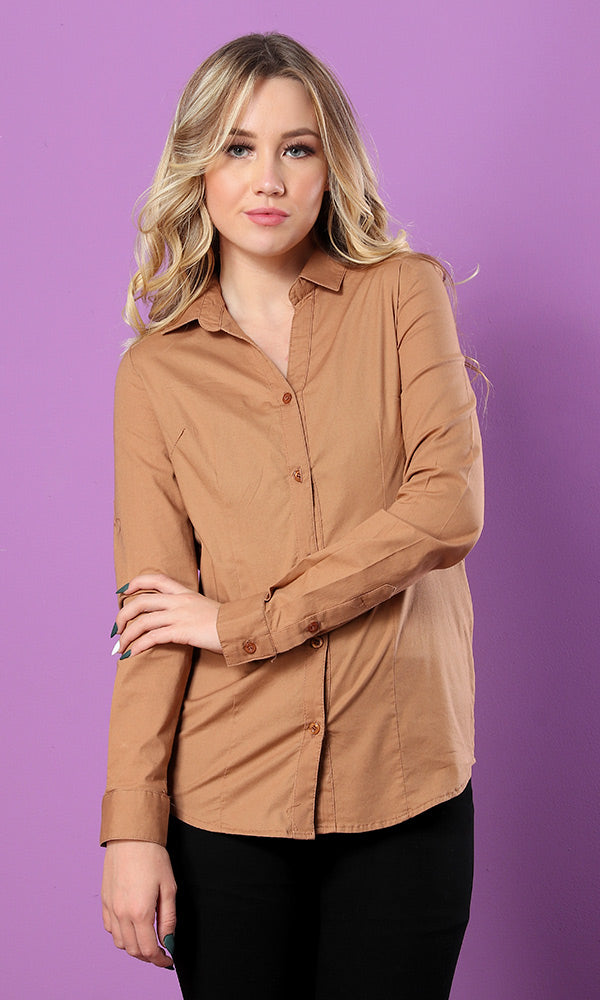 Polyester Casual Long Sleeves Turn Down Collar Shirt - Camel