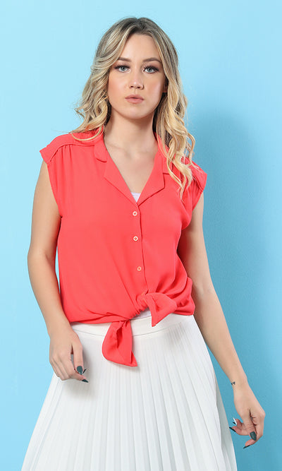 39421 Solid Short Sleeves Basic Shirt - Coral