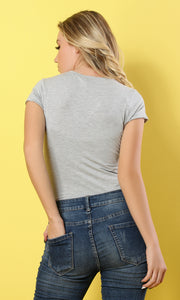 V-Neck Heather Grey Short Sleeves T-shirt - women t-shirts