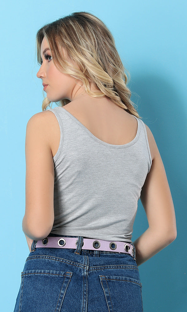 Sleeveless Tank Top - Light Grey