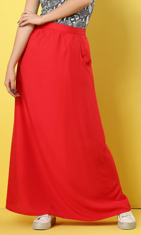 39427 Side Pockets Basic Watermelon Maxi Skirt