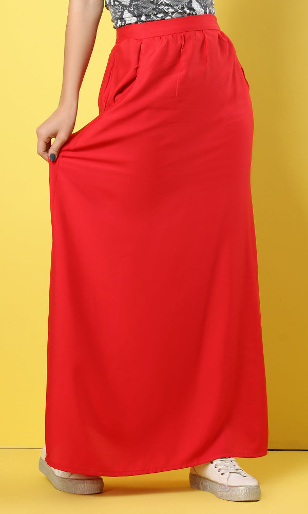 Side Pockets Solid Watermelon Maxi Skirt