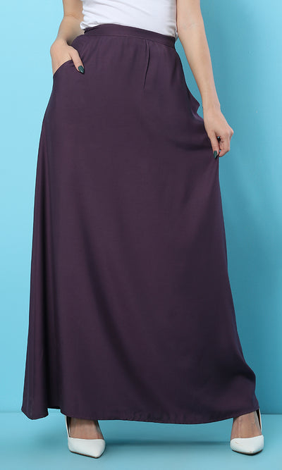 39428 Solid Soft Basic Eggplant Maxi Skirt