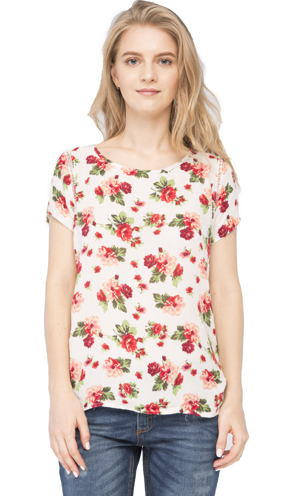 floral blouse-short sleeves
