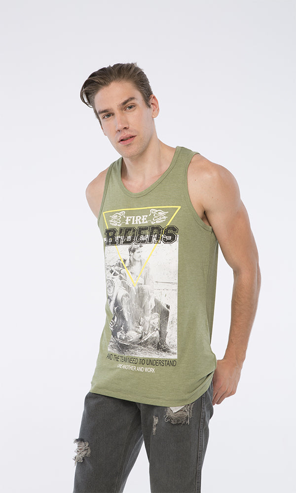 39438 Fire-Printed Tank Top - Olive