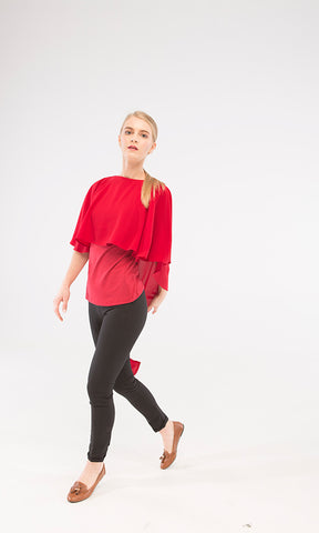 39441 Plain Fashionable Top - Dark Red