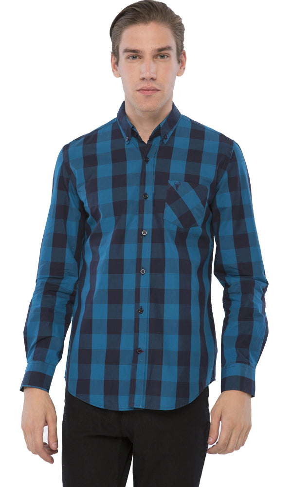 Checkered Shirt-Chest Pocket-Long Sleeves