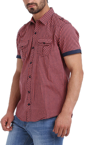 39516 Gingham Short Sleeves Shirt - Pink & Navy Blue