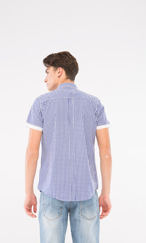 39518 Gingham Short Sleeves Shirt - Blue & White