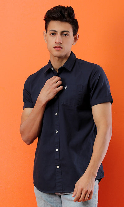 39527 Solid Short Sleeves Navy Blue Basic Shirt