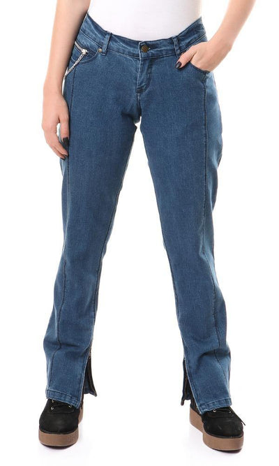 39533 Skinny Fit Jeans With Side Hem Zipper - Blue - Ravin