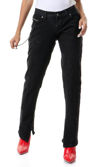 39534 Decorative Chain Black Skinny Jeans