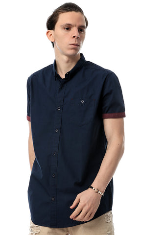 39539 Plain Short Sleeve Shirt -Navy Blue