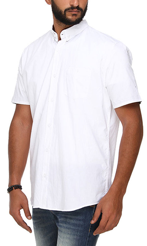 Contrast Trims Shirt-Short Sleeves