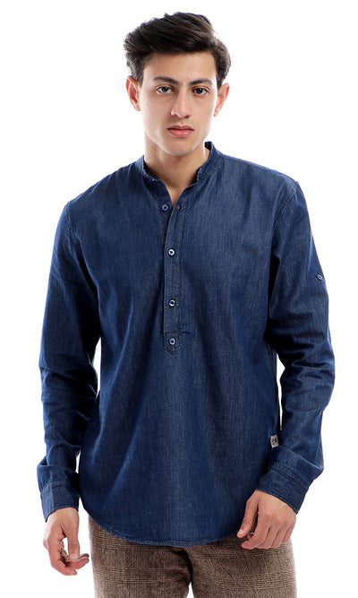 39548 Round Collar Regular Fit Jeans Shirt - Dark Blue Jeans