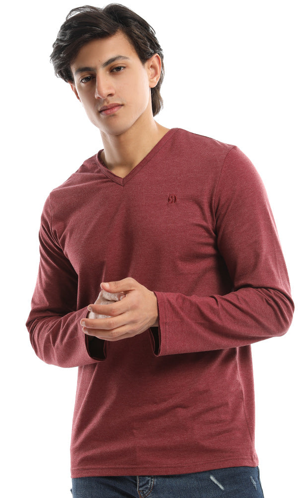 unfinished v-neck t-shirt-long sleeves