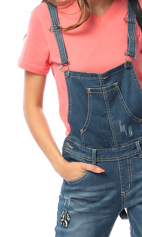 39675 Bailey Light Wash Blue Distressed Denim Overalls