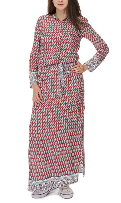 39680 Full Sleeves Patterned Long Dress - Red & White